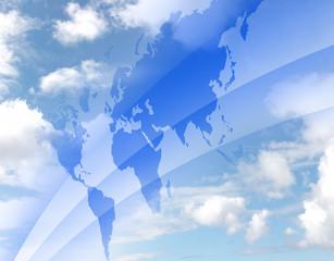 青空と世界地図