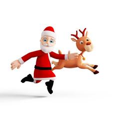 Santa and Reindeer is running pose