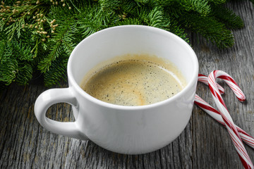 Coffee and Candy Cane for the Holidays with Christmas Pine Branc