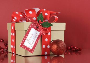 Kraft gift box and red and white polka dot ribbon