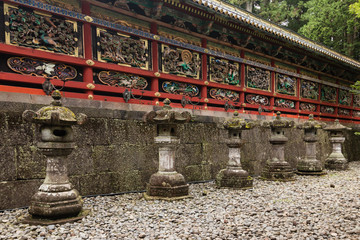 wooden wall with carvings at Nikko Tosho-gu