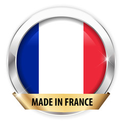 made in france silver badge isolated button