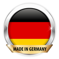 made in germany silver badge isolated button