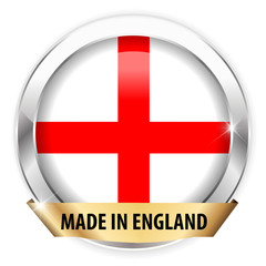 made in england silver badge isolated button