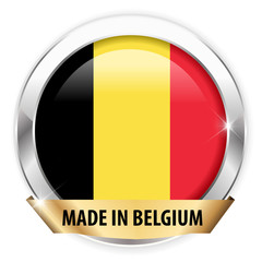 made in belgium silver badge isolated button