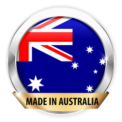 made in Australia silver badge isolated button