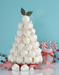 Christmas tree dessert treat with pink and white meringues