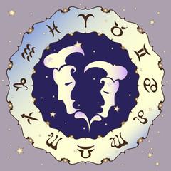 Gemini zodiac sign, vector illustration