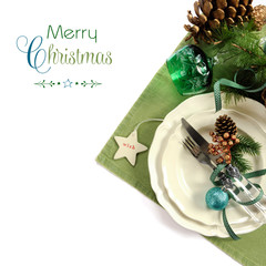 Traditional Christmas holiday green theme table place setting