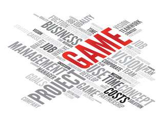 GAME business concept in word tag cloud, vector background