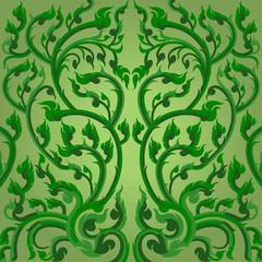 Green winding vines Thai art pattern style