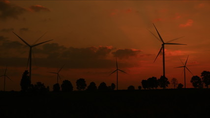Wind turbines at sunset,Time lapse