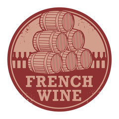 Grunge rubber stamp with words French Wine, vector