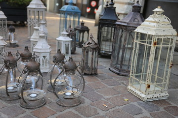 lanterns and lights for sale at flea market