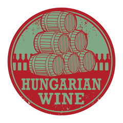 Grunge rubber stamp with words Hungarian Wine, vector