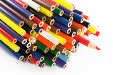 A group of colored pencils.