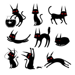 Cat Silhouette Black And White Clip art Cartoon Set