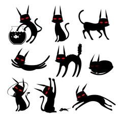 Cat Silhouette Black And White Clip art Cartoon Set