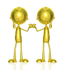 Golden character with presenting relation