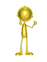Golden character with thumbs up pose