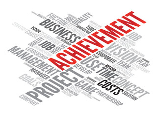 Achievement business concept in word tag cloud, vector