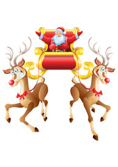 Santa Claus riding sleigh with two reindeer isolated
