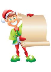 Christmas elf holding wishlist isolated