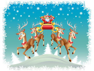 Santa Claus, sleigh with toys, four reindeer on christmas night