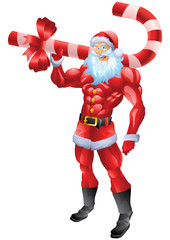 Muscular Santa Claus holding candy cane