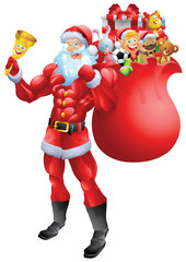 Muscular Santa Claus holding bell and bag full of toys, isolated
