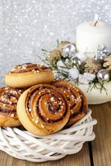 Kanelbulle - swedish cinnamon rolls in christmas setting