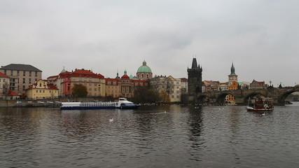 View of Prague from the Vltava River, Czech Republic