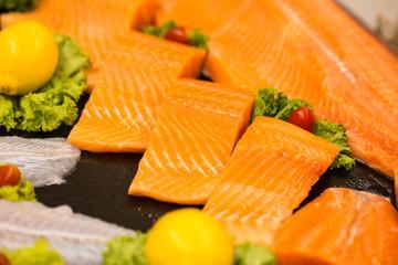 salmon fillet, raw fresh of orange salmon fillet showing texture