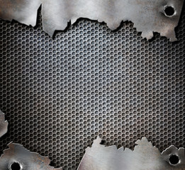 grunge metal background with bullet holes