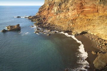 Rock beach at sinset in La Palma. Spain