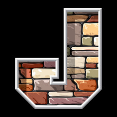 letter J on stone wall background