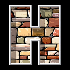 letter H on stone wall background