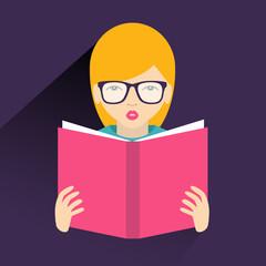 Girl reading a book. Flat vector.