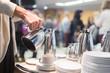 Leinwanddruck Bild - Coffee break at business meeting