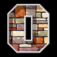 letter Oon stone wall background