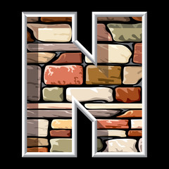 letter N on stone wall background