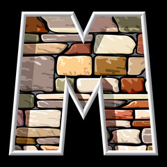 letter M on stone wall background