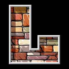 letter L on stone wall background