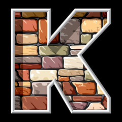 letter K on stone wall background