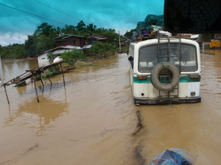 Flood on the road to Laos