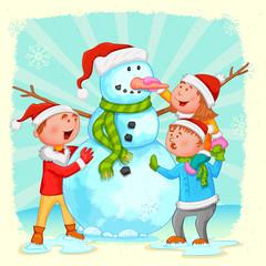 Kids building Snowman for Christmas