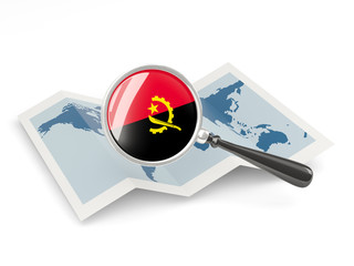 Magnified flag of angola with map