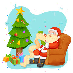 Santa Claus reading wish list for Christmas