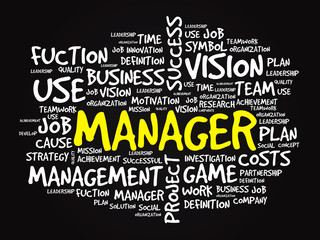 Hand drawn MANAGER business concept in word tag cloud