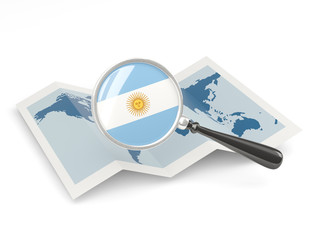 Magnified flag of argentina with map